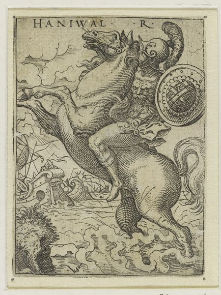 Hannibal mounted on a horse, 1530-1562, Virgil Solis, Nuremberg, Germany