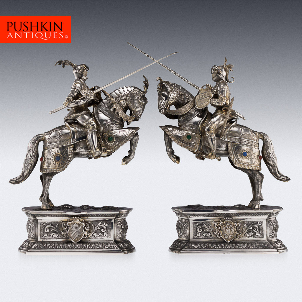 Solid silver pair of knight horseman figures, cr. 1920, Germany