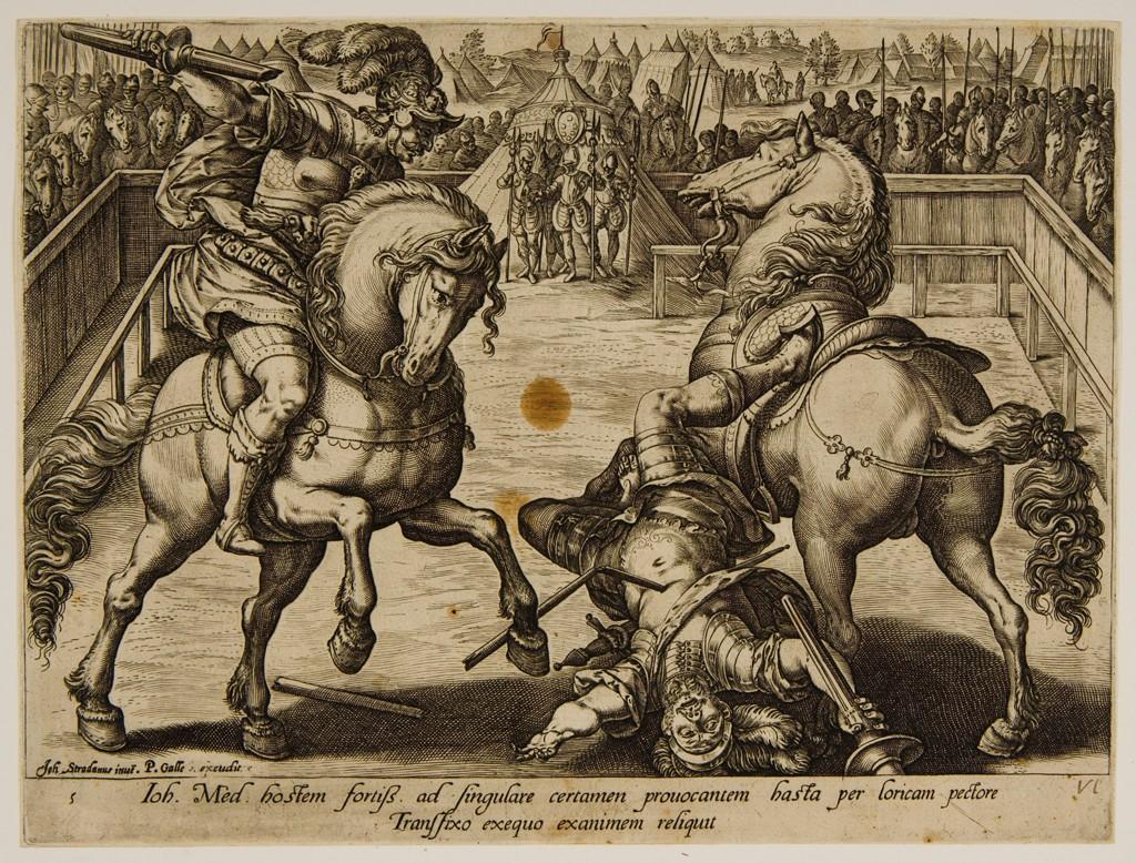 Giovanni de Medici in a Duel, cr. 1578, Hendrick Goltzius, Netherlands