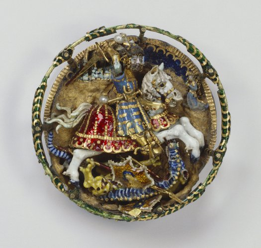 Hat badge with St George and the dragon, cr. 1520, Flemish