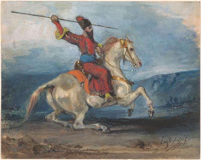 A Persian Horseman with a Lance, cr. 1820-7, Delacroix Eugène, France