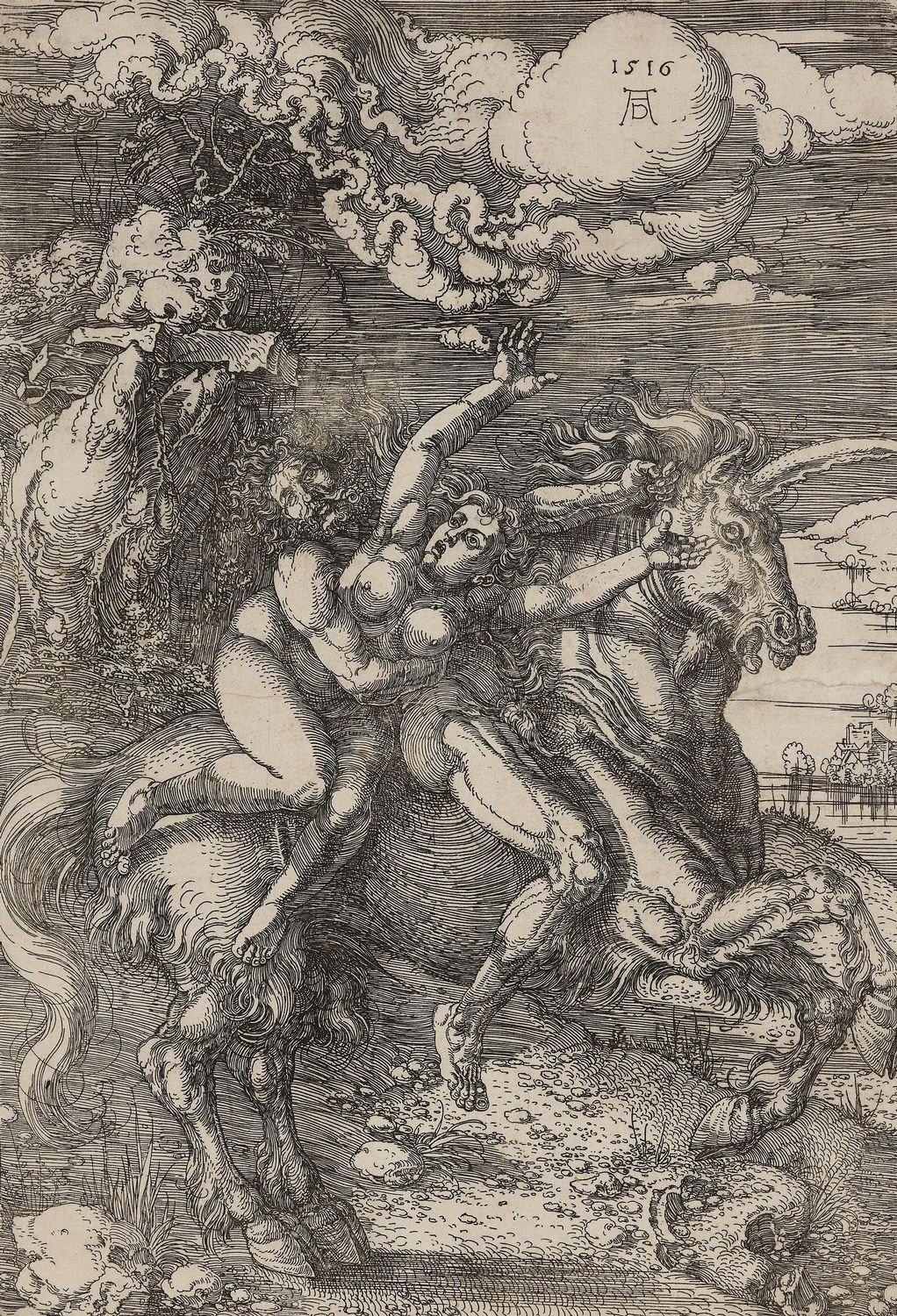 COMPARANDUM: A woman abducted by a man on a unicorn, 1516, Albrecht Dürer, Germany