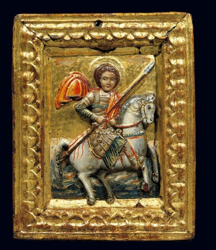 Relief icon showing St George on horseback, 15th century, Thrace (?)