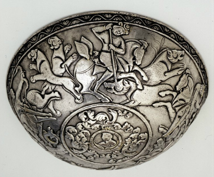 Silver bowl showing four hunters, 460-479, Hephthalite