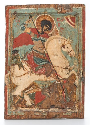 Icon of St George the dragon-slayer on horseback, Late 16th century, Macedonia