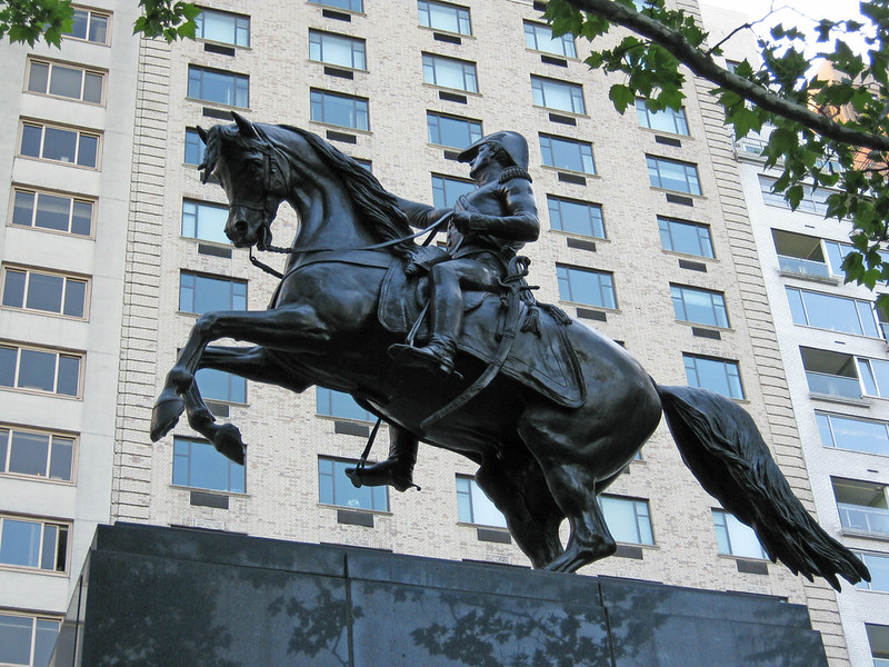 Equestrian statue depicting Argentine general José de San Martín, replica of a statue by French sculptor Louis Joseph Daumas, 1863, Central Park, New York, U.S.A.