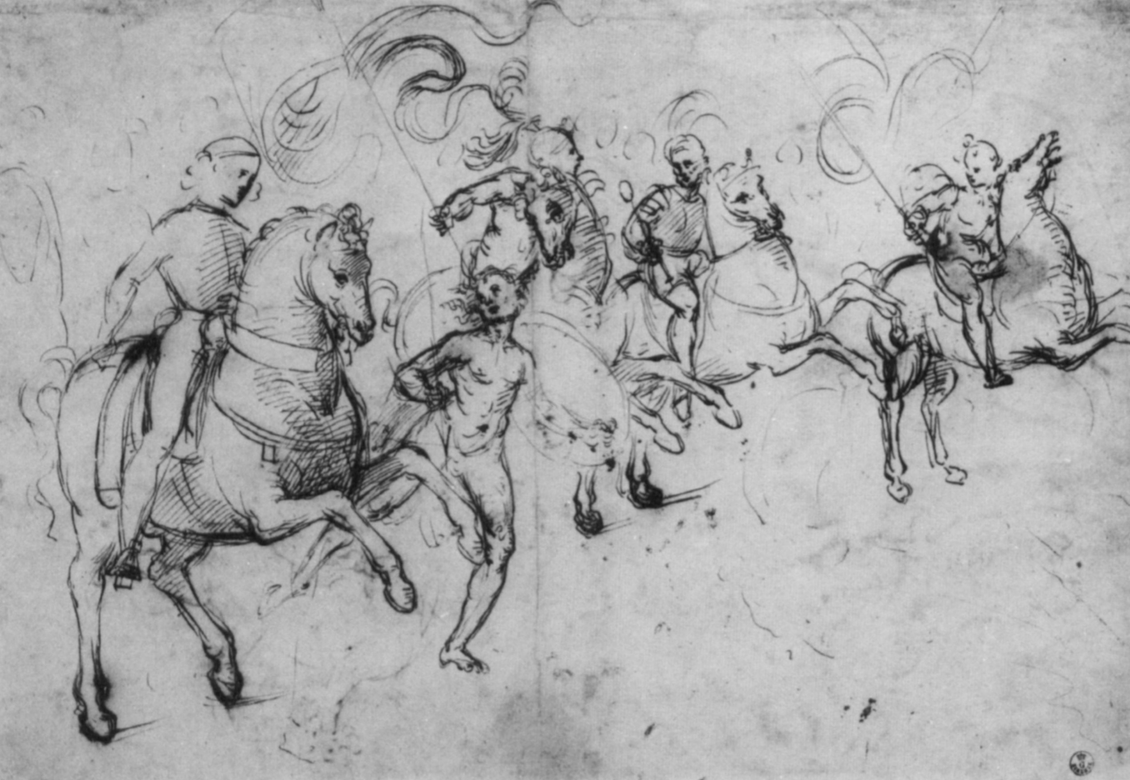 Sketch the four horsemen and captive warrior to paint the library Piccolomini in Siena, 1503, Raphael Sanzio, Italy