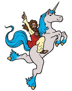 Jesus riding a unicorn, 2010s, Alejandro Valdés (?)