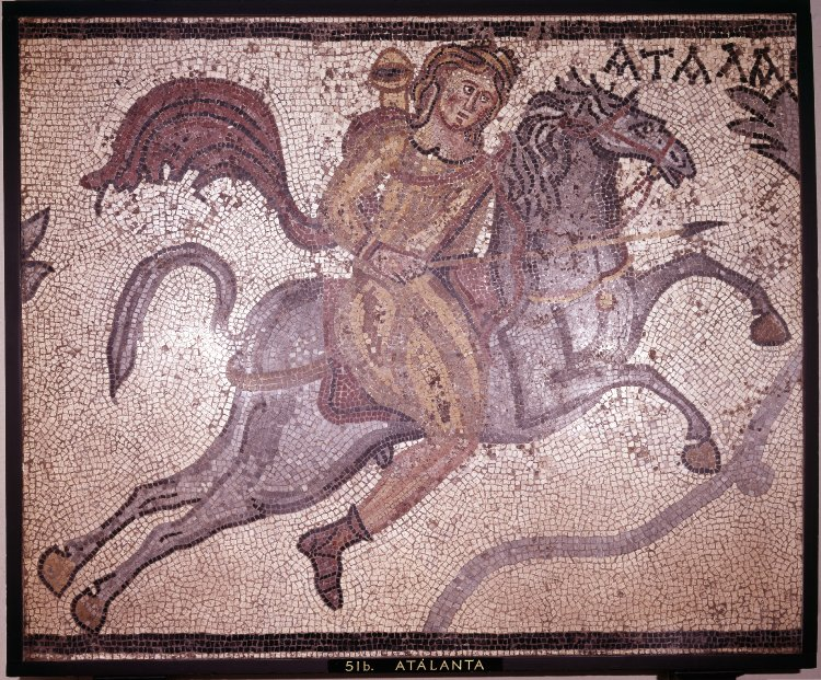 Mosaic showing Atalanta on horseback hunting a lion,4th century, Villa of Charidemos, Halicarnassus (Bordum), Turkey