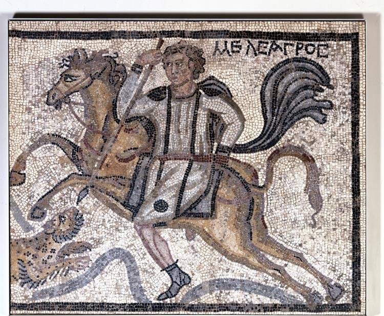 Mosaic showing Meleager on horseback spearing a leopard,4th century, Villa of Charidemos, Halicarnassus (Bordum), Turkey