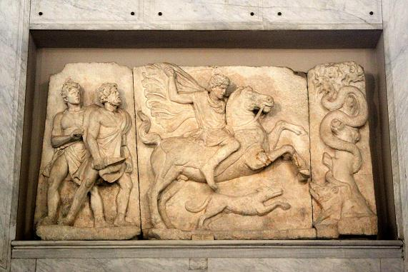 Large marble hero horseman relief from Thessaloniki, Greece, ?