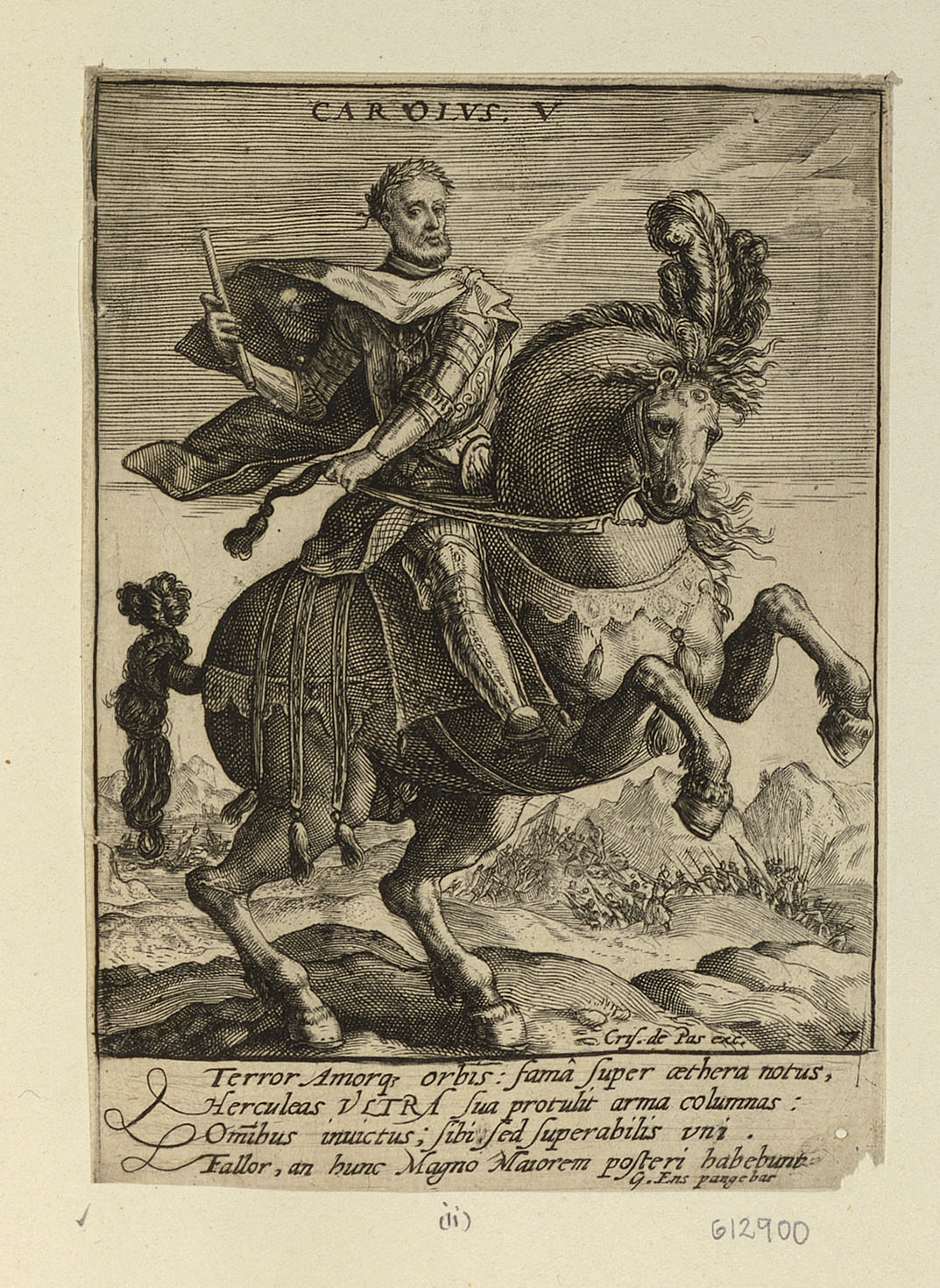 Charles V, Holy Roman Emperor, on Horseback, cr. 1579-1637, Crispijn van de Passe, Netherlands