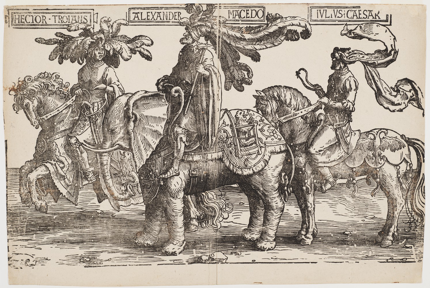 Hector of Troy, Alexander of Macedon, Julius Caesar (the pagan heroes on horseback), cr. 1520, Lucas van Leyden, Amsterdam, Netherlands