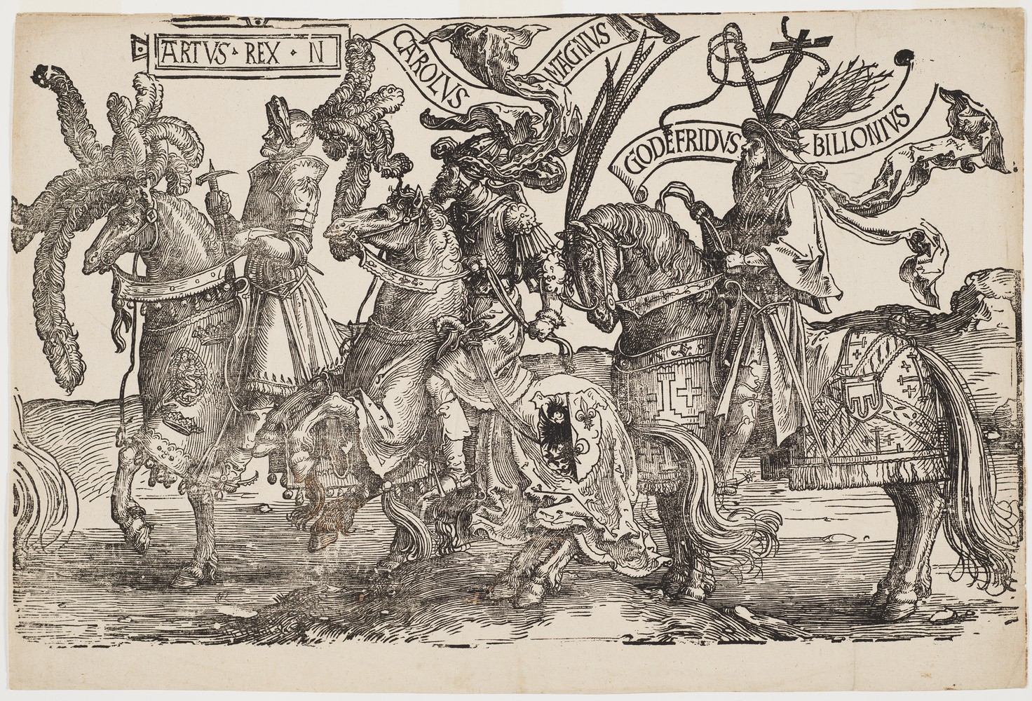 Arthus, Charles the Great (Charlemagne), Godfrey of Bouillon (the Christian heroes on horseback), cr. 1520, Lucas van Leyden, Amsterdam, Netherlands