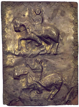 Saint George slaying Diocletian and Saint Theodore slaying a serpent, silver embossing, 10th century