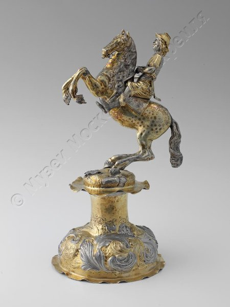 Drinking cup/centrepiece modelled as mounted warrior,  Second half of the 17th century, Augsburg, Germany