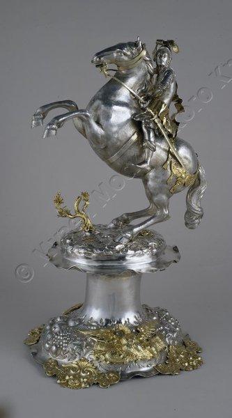 Drinking cup/centrepiece modelled as a horseman, 1680-1684, Lorenz I Biller, Augsburg, Germany