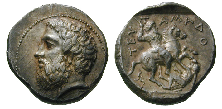 Tetradrachm of King Teutamados, 4th century BC (?), Paeonia