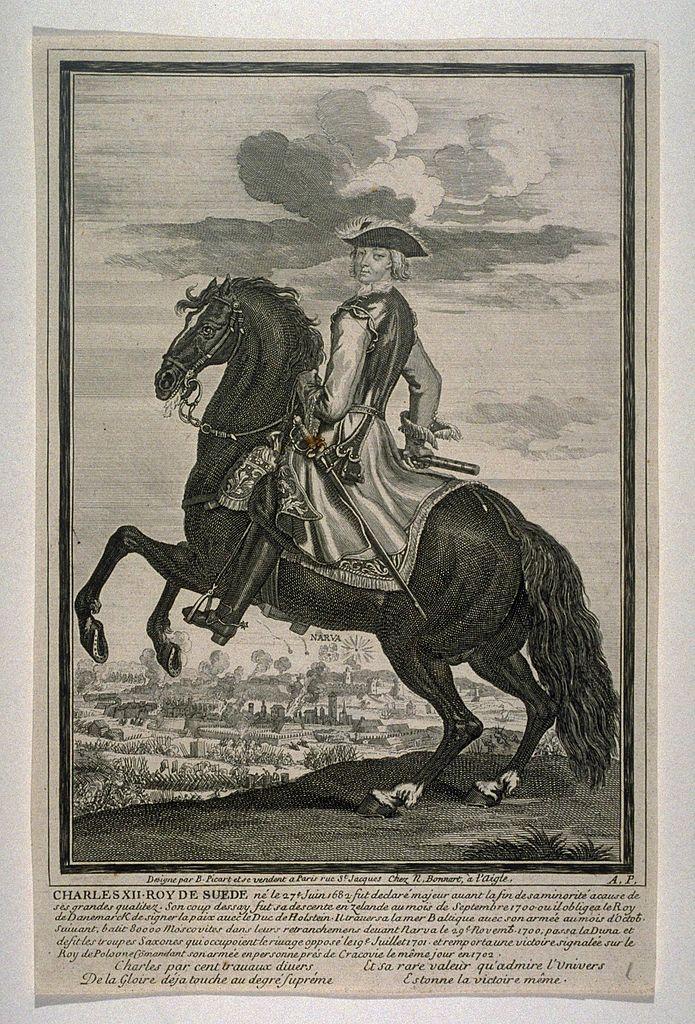 Karl XII, King of Sweden, on horseback, 18th century, Bernard Picart