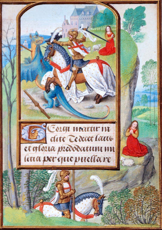 Miniature of George fighting the dragon, with a full border with George passing the king's daughter, cr. 1500, a Book of Hours, Netherlands