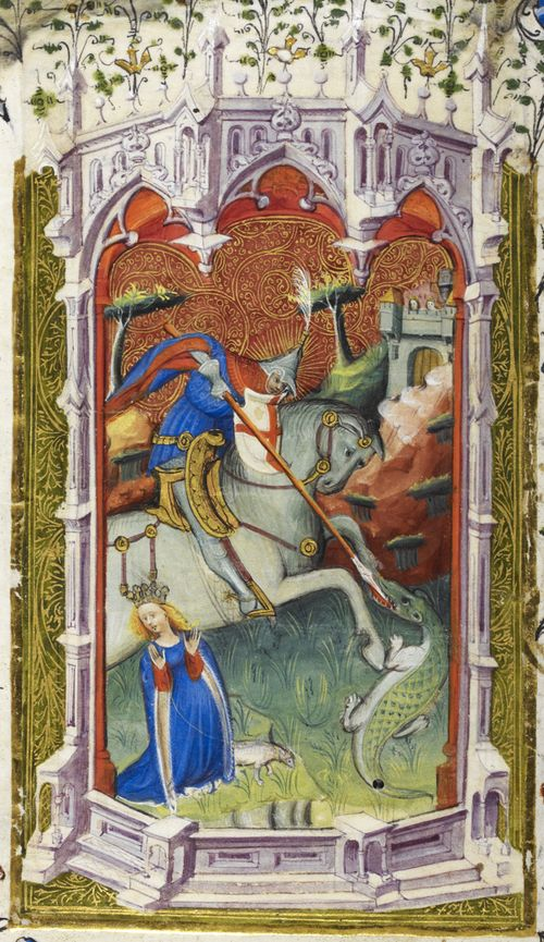 Detail of a miniature of St George and the dragon, from the Beaufort/Beauchamp Hours, cr. 1401, England (London) and Netherlands (Bruges)