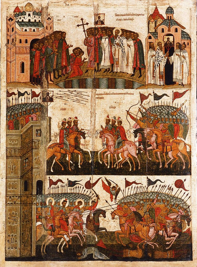 Battle between Novgorod and Suzdal in 1170 with the depiction of Saint George and other warrior saints in the bottom tier, second half of the 15th century, Novgorod, Russia
