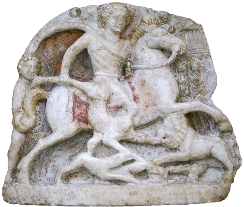 Votive tablet with Thracian rider relief, 3rd century AD