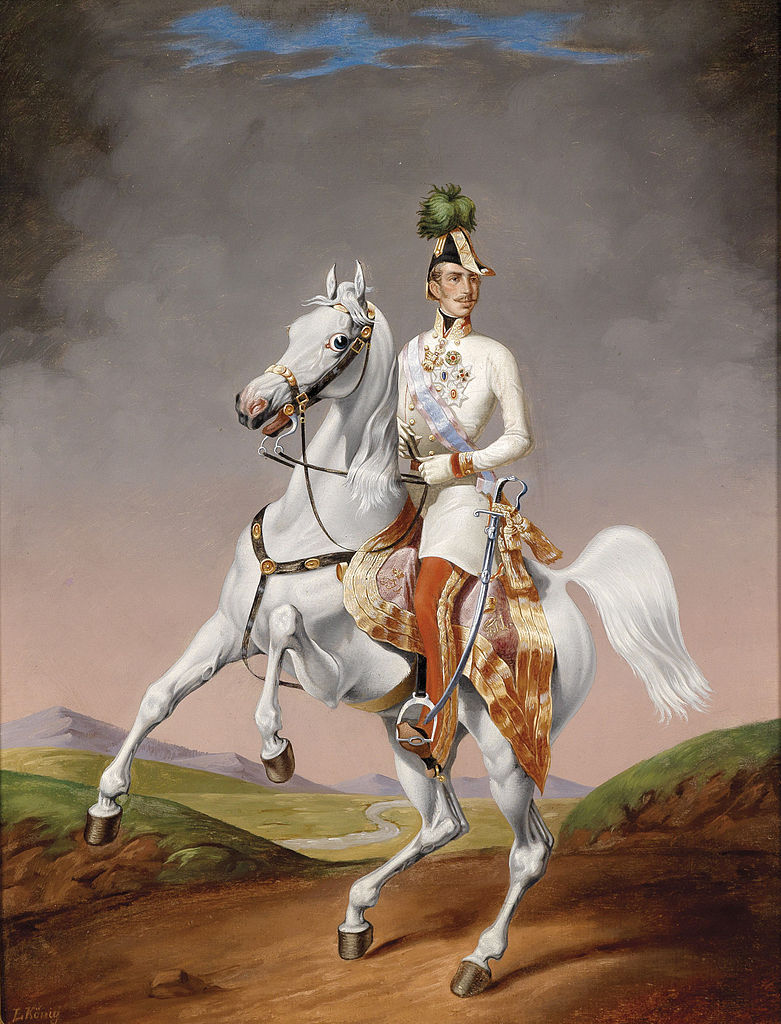 Portrait of the young Emperor Francis Joseph on a horse,1855, Lilly Konig, Austria