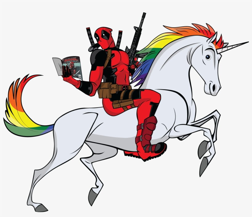 Deadpool riding a unicorn, 2010s