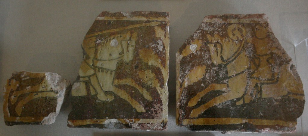 Inlaid tiles showing the battle of Richard I and Saladin, cr. 1250-70, Cleeve Abbey, Somerset, U.K