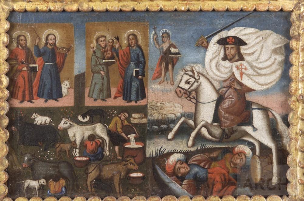 Santiago Matamoros and pastoral life scene, early 19th century, Peru