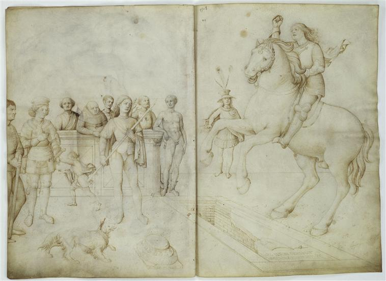 Nine characters; a rider and a horse jump over a tomb, Jacopo Bellini, Louvre 39v+40r