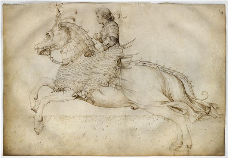 Horseman on a horse with a fancy harness, Jacopo Bellini, Louvre 47r