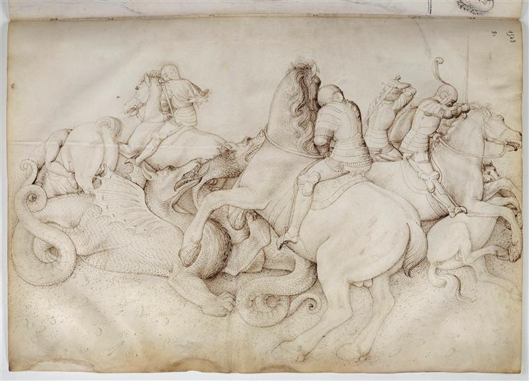 Fight between five horseman and the dragons, Jacopo Bellini, Louvre 75r