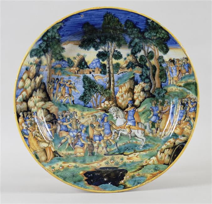 Maiolica plate showing Marcus Curtius leaping into the abyss, cr. 1550, Urbino