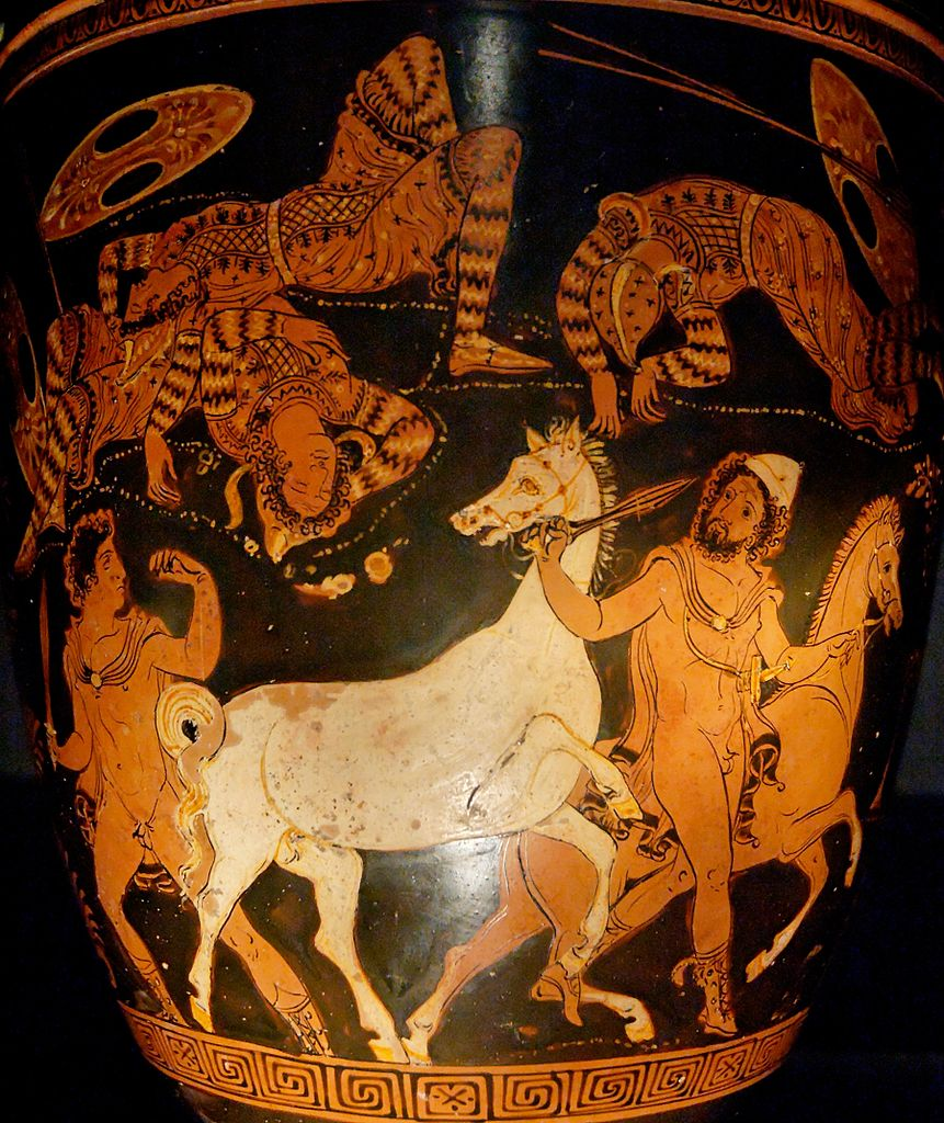 Situla with Odysseus (wearing the pilos hat) and Diomedes stealing the horses of Thracian king Rhesus they have just killed, 360 BC, Apulia