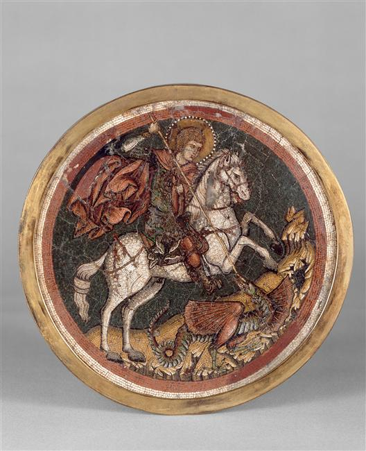 Saint George trampling the dragon, 1300-50