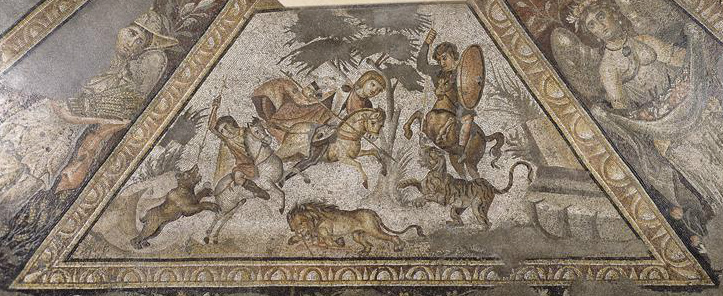 Mosaics showing a hunting scene, 300-25, Villa Daphne, Harbiye, Turkey