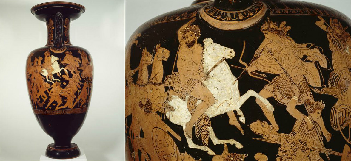 Amphora known as the amphora of Milo: gigantomachy, including the depiction of Poseidon on a rearing horse,410-400 BC, Attica, attributed to the painter of Suessula