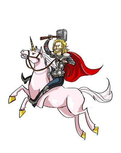 Thor riding a unicorn, 2010s, Rae (?)