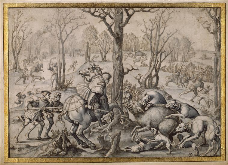 A tapestry design 'The month of December, capricorn: attack of the wild boar' from the series 'The Hunting of Maximilian' called 'Beautiful hunts of Guise', cr. 1530, after Bernard van Orley, Brussels, Flanders