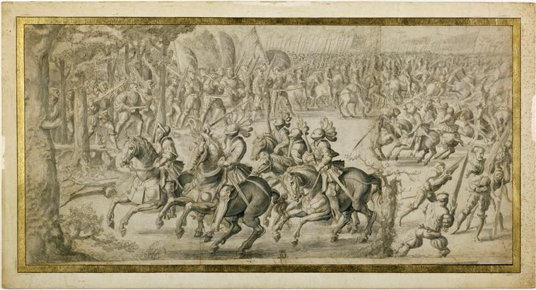 A tapestry design 'The cavalry attack and the assault of the arquebusiers' from the series 'The Battle of Pavia', 16th century, Bernard van Orley, Brussels, Flanders
