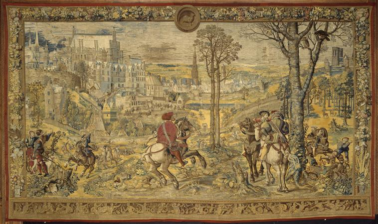 A tapestry 'The month of March, aries: the departure for bird hunting' from the series 'The Hunting of Maximilian' called 'Beautiful hunts of Guise', cr. 1530, after Bernard van Orley, Brussels, Flanders