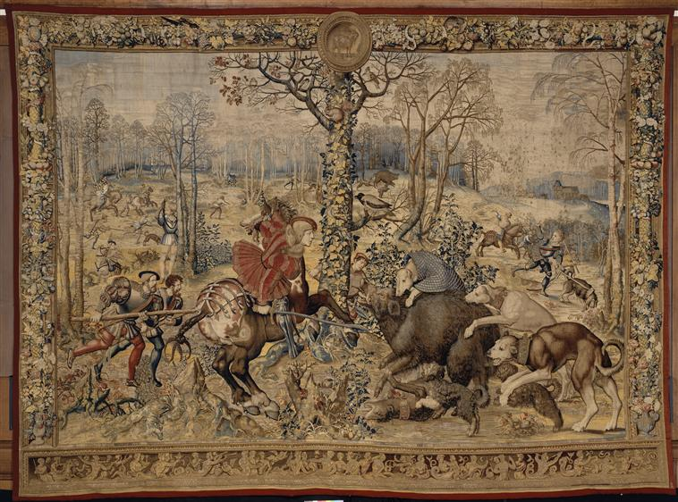 A tapestry 'The month of December, capricorn: attack of the wild boar' from the series 'The Hunting of Maximilian' called 'Beautiful hunts of Guise', cr. 1530, after Bernard van Orley, Brussels, Flanders