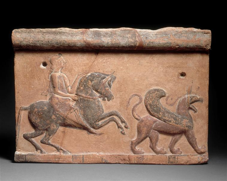 COMPARANDUM: Tile with a winged griffon and a horseman, 6th century BC, Asia Minor