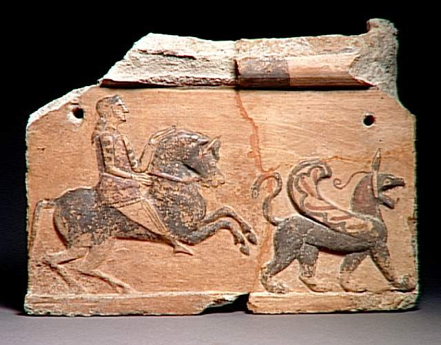 Tile with a winged griffon and a horseman, 6th century BC, Asia Minor