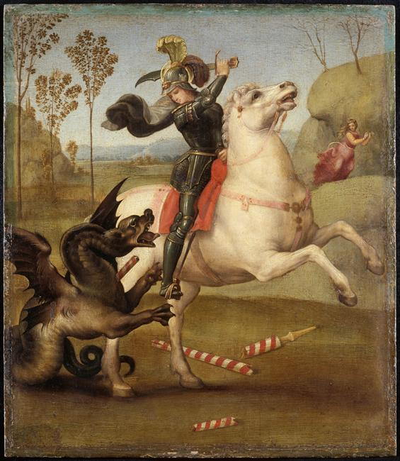 St. George fighting with the Dragon, cr. 1505, Raphael, Italy