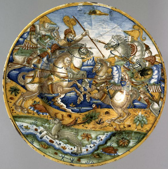Plate depicting a battle, 1554, possibly Mancini workshop, Deruta