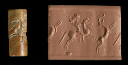 Cylinder seal depicting hunting, cr. 10th-5th century BC, Neo-Elamite II or Achaemenid (?)
