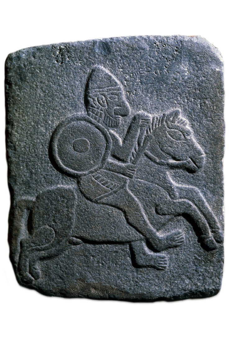 Relief sculpture of a soldier riding a horse, 10th-9th century BC, Aramean or Hittite, Tell Halaf, Syria